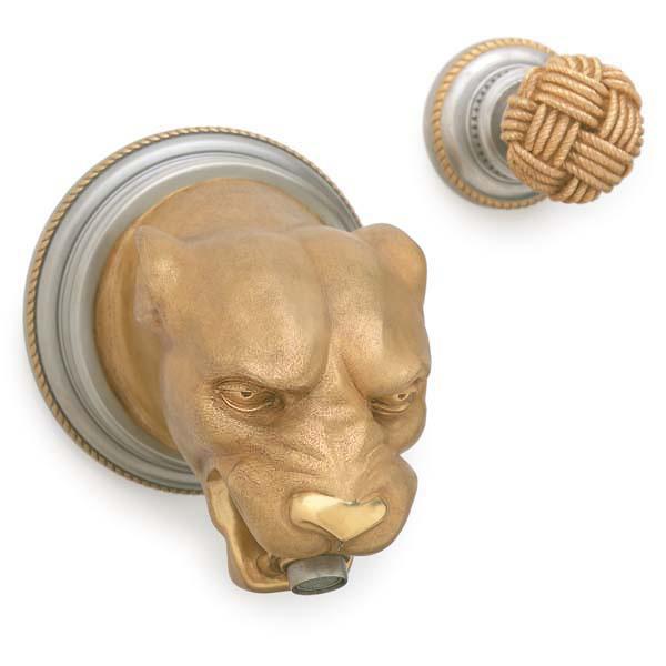 P.E. Guerin излив для ванны в форме головы собаки хром золото