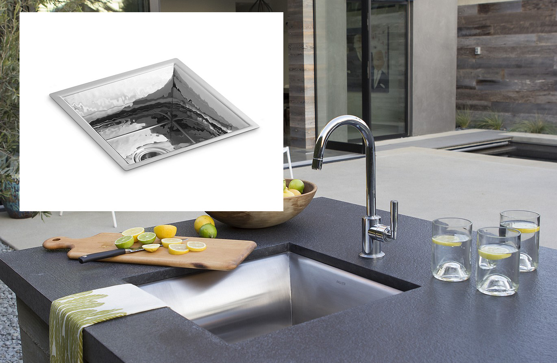 квадратная кухонная мойка из стали