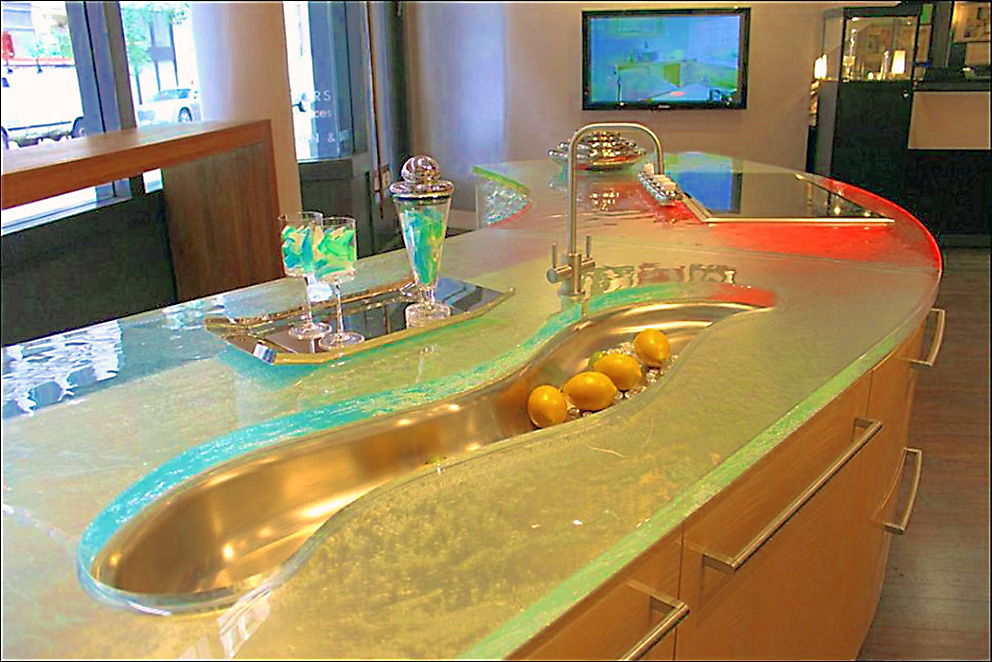 креативная дизайнерская мойка для кухни в форме волны для кухонного острова