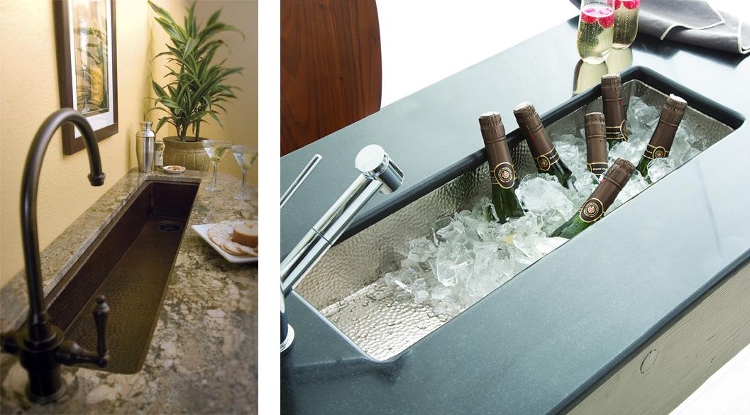 вспомогательная узкая кухонная сервировочная мойка с молотковым эффектом, отделка хром или бронза