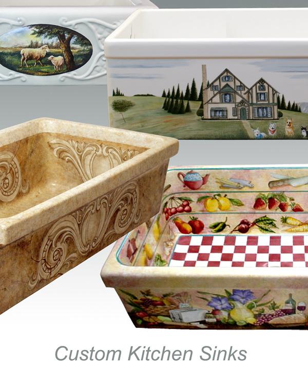 """""""Фермерские"""" мойки полувстраиваемые для кухни с декором (рисунком или орнаментом) из керамики"""